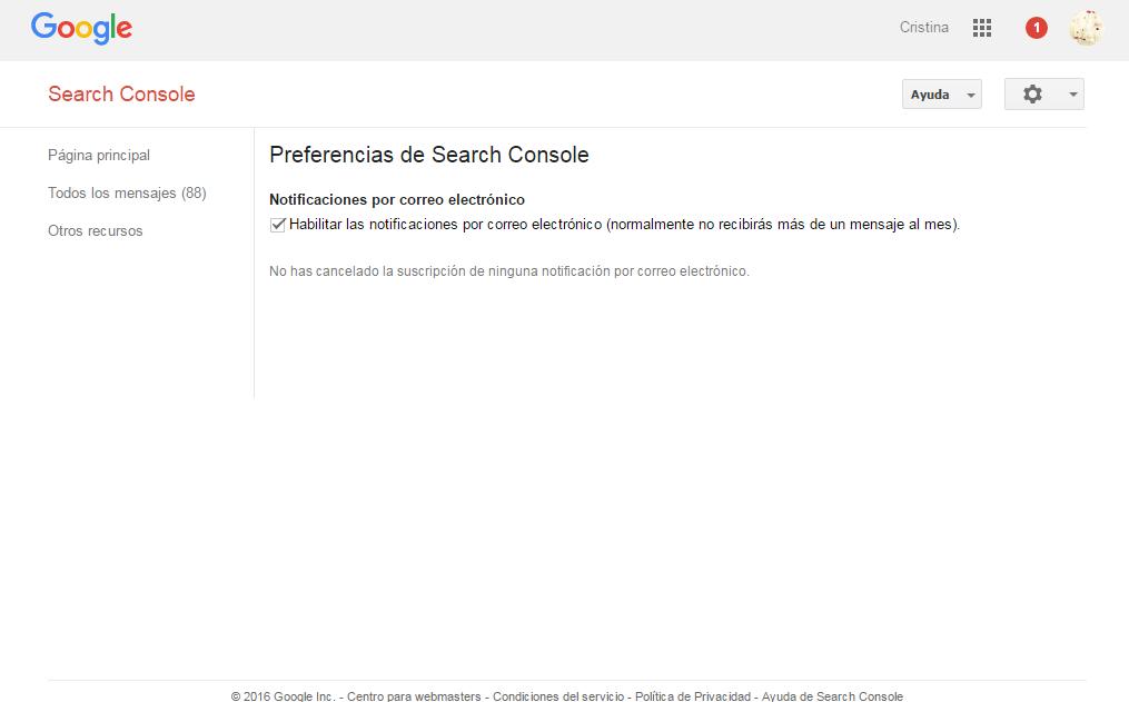Google Webmaster Tools notificaciones por correo electrónico