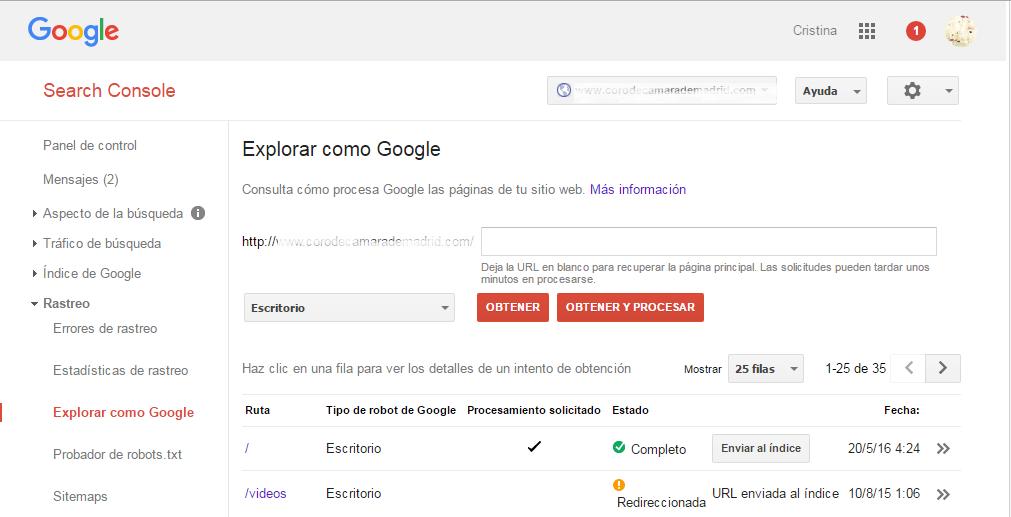 Google Webmaster Tools Herramienta Explorar como Google