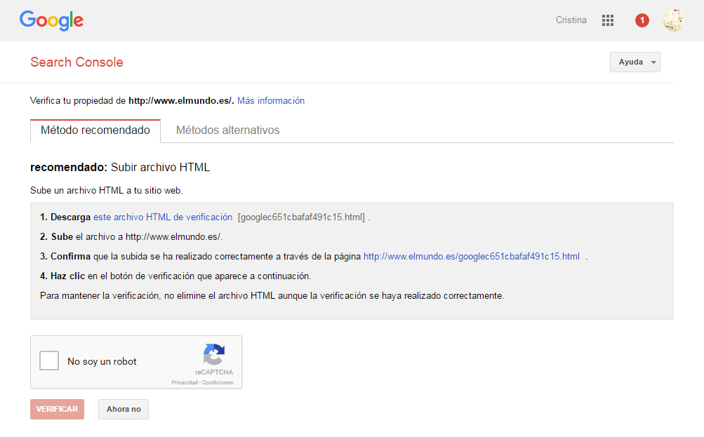 Métodos de verificación Google Webmaster Tools