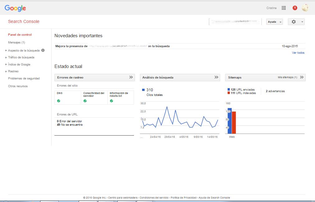 Panel de control Google Webmaster Tools