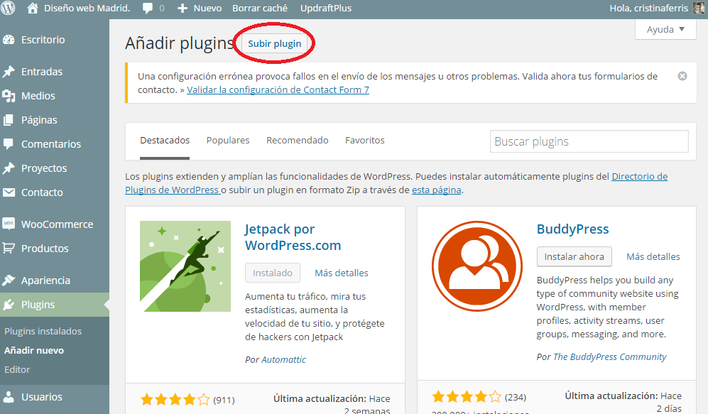 CÓMO INSTALAR UN PLUGIN DE WORDPRESS