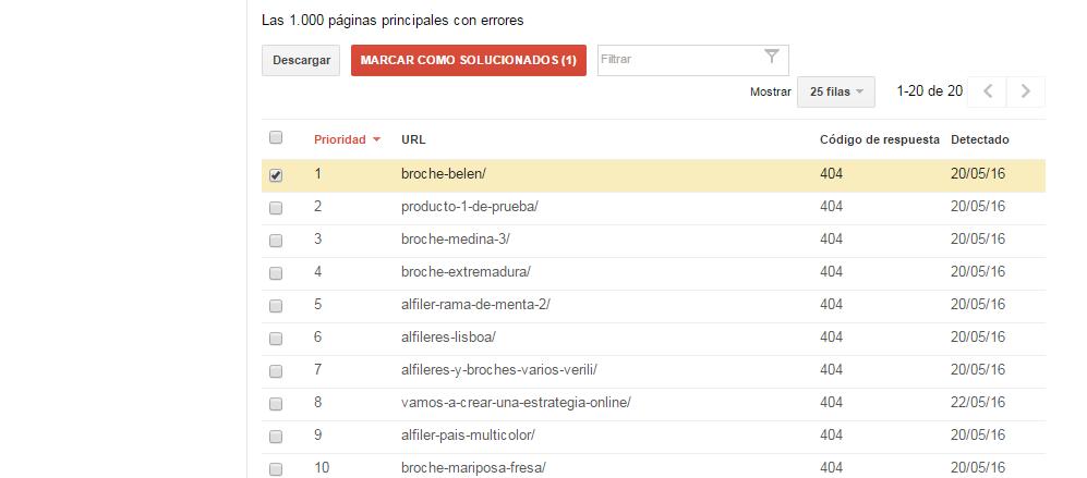 Cómo solucionar errores 404 en Google Webmaster Tools