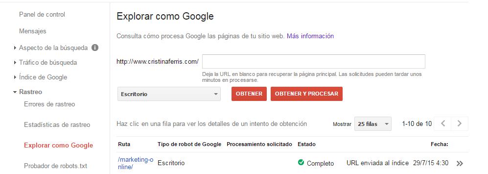 Indexar manualmente en Google