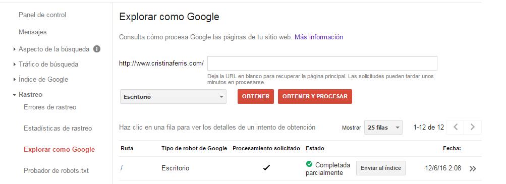 Indexar manualmente una URL en Google